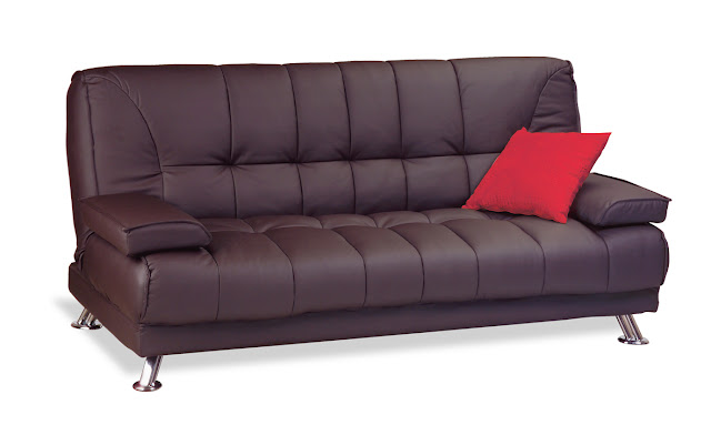 brown leather click clack sofa bed