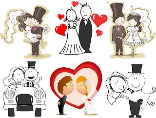 Noivinhos casamento vetor
