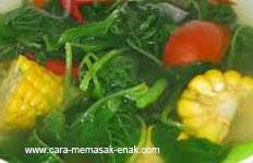 resep praktis (mudah) membuat (membikin) sayur bening bayam spesial sedap, gurih, nikmat