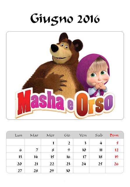 Calendario 2016 - Masha e Orso - Giugno