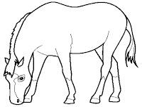 Gambar Kuda Mencari Makan Untuk Diwarnai