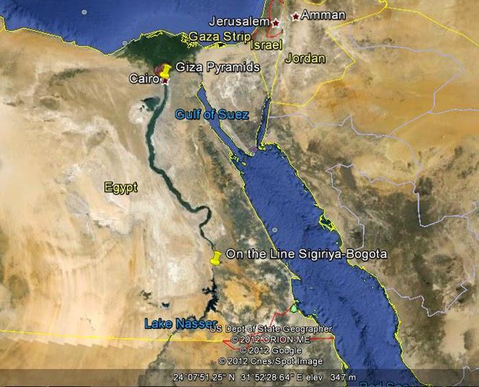 Место пересечения линии направления антенны Пидурангалы с рекой Нил, плато Гиза, пирамиды