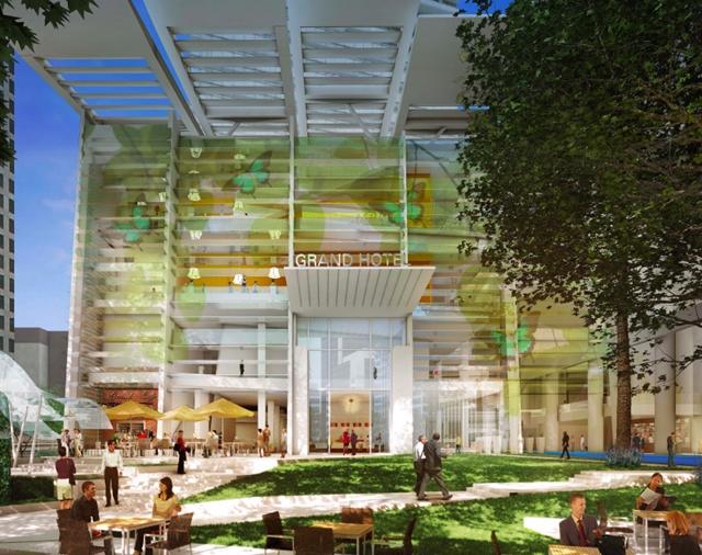 Rendering of the entrance and terrace of Wilshire Grand by AC Martin Partners, Los Angeles, USA