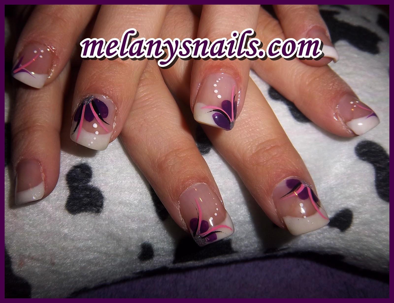 Melanys nails u as relleno porcelana motivo flores lilas - Dibujos de unas de porcelana ...