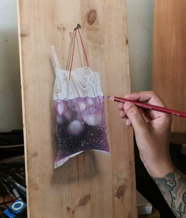 Photorealistic Drawings on Wooden Boards-3