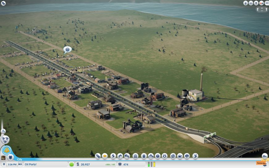 Общий вид на промышленный город с нефтью