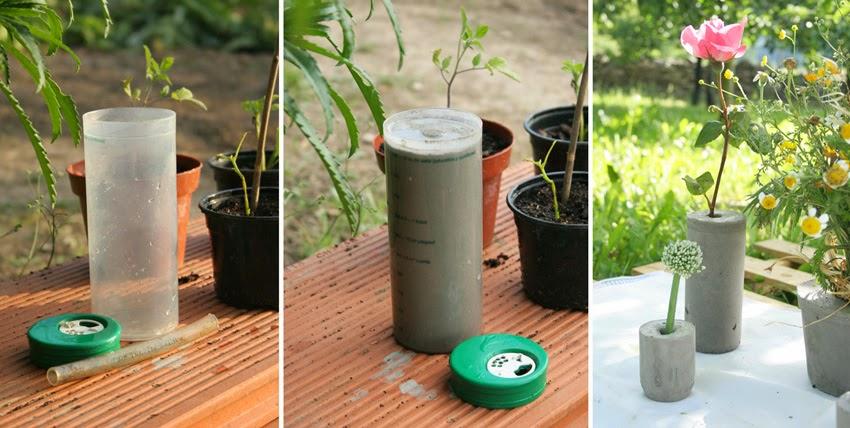 Diy florero de cemento con medidor de plástico