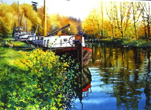 12-Boat-Medway-Joe-Francis-Dowden-Photo-Realistic-Watercolour-Paintings-www-designstack-co