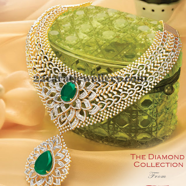 Diamond Emerald Bridal Necklace