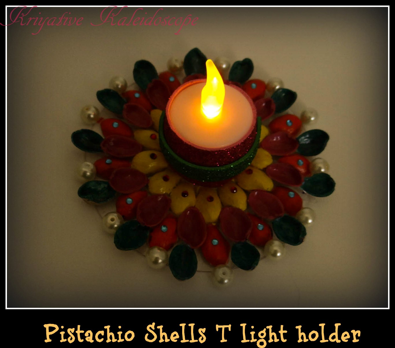 Kriya Tive Kaleidoscope T Light Holder Using Pistachio Shells