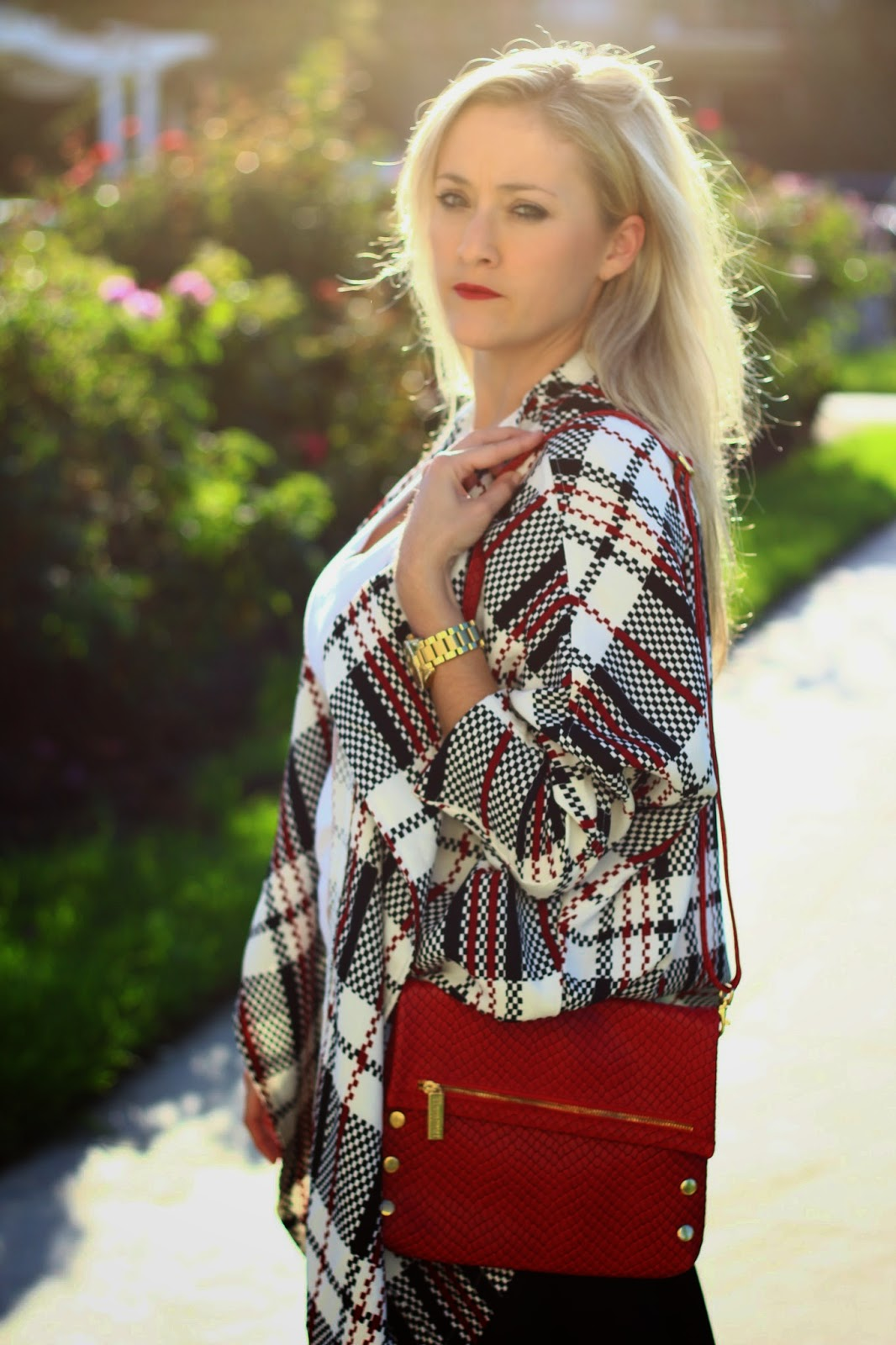 Girls On Film Black White and Red Tartan Jacket