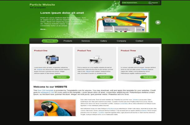 Free HTML Black Green Gadgets CSS Website Template