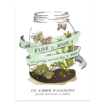 butterfly mason jar terrarium save the date card