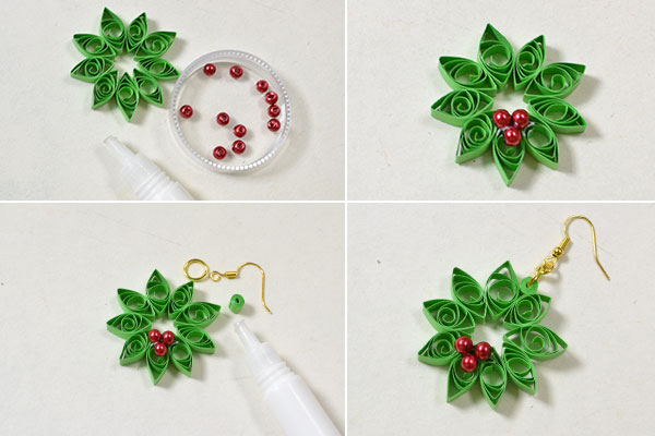 Crafting wire diy quilling paper flower earrings for Easy quilling designs step by step