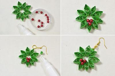 Crafting wire diy quilling paper flower earrings - Simple handmade paper flowers ...