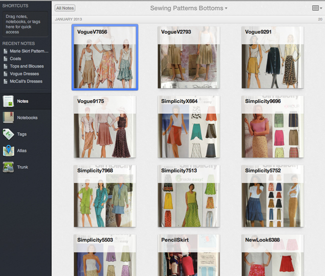 Lula Louise: Create a Sewing Pattern Catalog - Evernote for Crafters ...