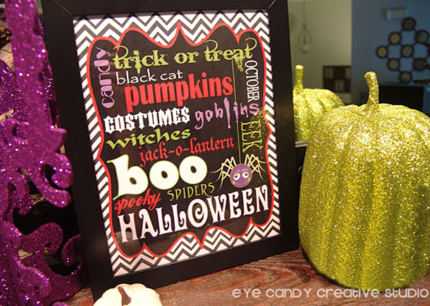 glitter pumpkins, framed halloween subway art, mantel decor ideas