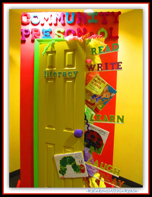 Welcome Lobby in Preschool (Classroom Decor RoundUP at RainbowsWithinReach)