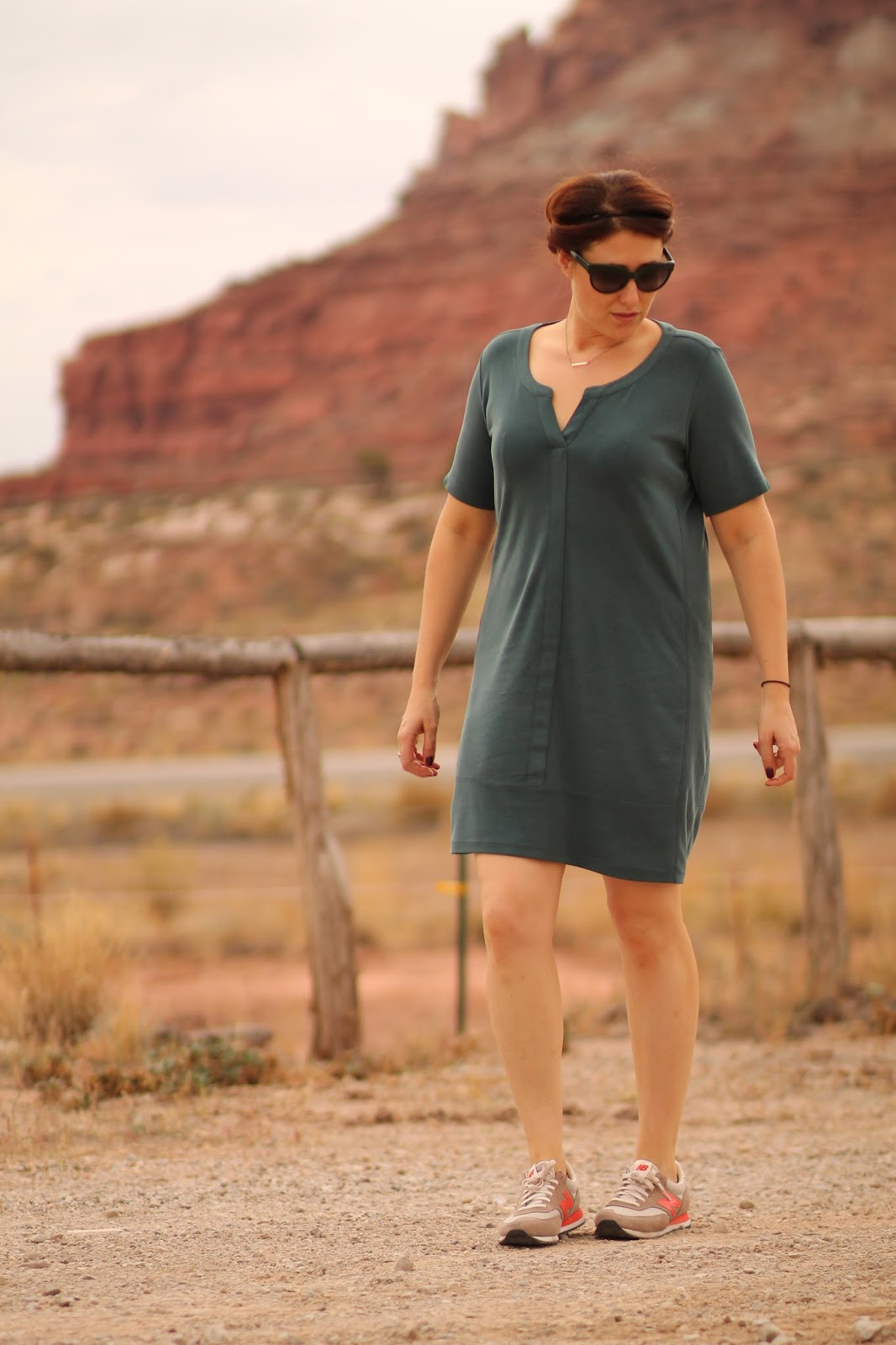 top, notch, tee dress, athleta, evergreen