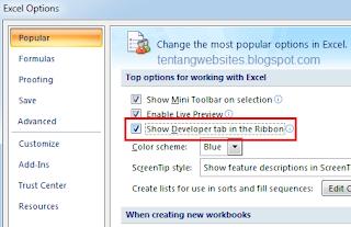 cara menambah tab developer di excel