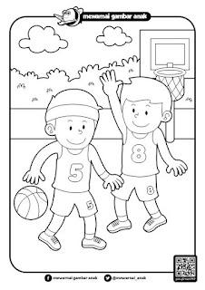 anak bermain bola basket