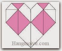 Bước 13: Hoàn thành cách gấp hình trái tim hai màu khác nhau bằng giấy theo phong cách origami.