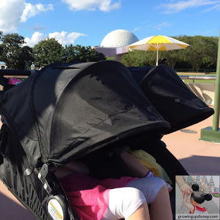 children napping in a stroller at Disney World