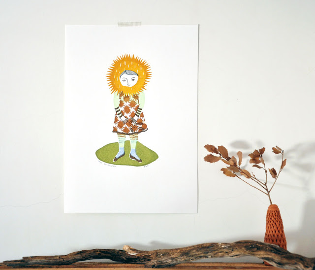 Sweet Chestnut Girl - gocco screenprint by Fric de Mentol on Etsy