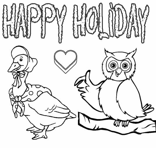 Happy Holiday Coloring Pages title=