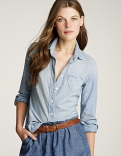 Heart Pocket Chambray Button Down