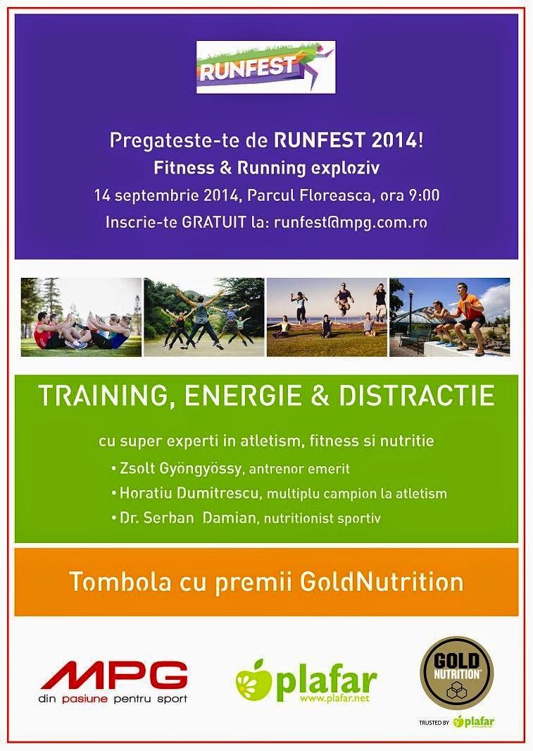 Antrenament pentru RUNFEST 2014. Duminică, 14 septembrie 2014, ora 9, Parcul Floreasca, Bucureşti. Afiş