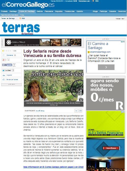Reportaje del Correo Gallego en Galicia 2013.