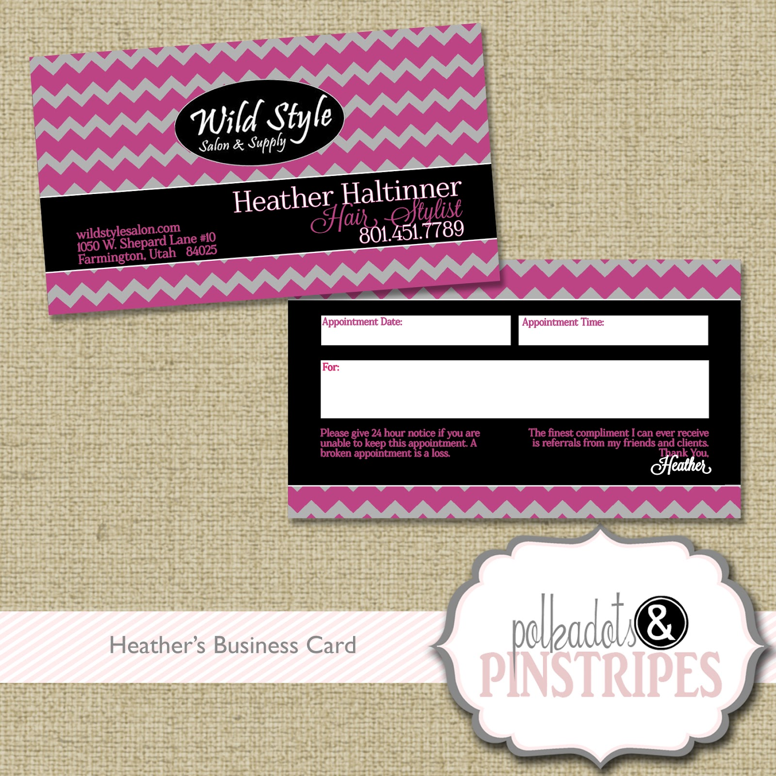Polka Dots \'n Pinstripes: Business Cards