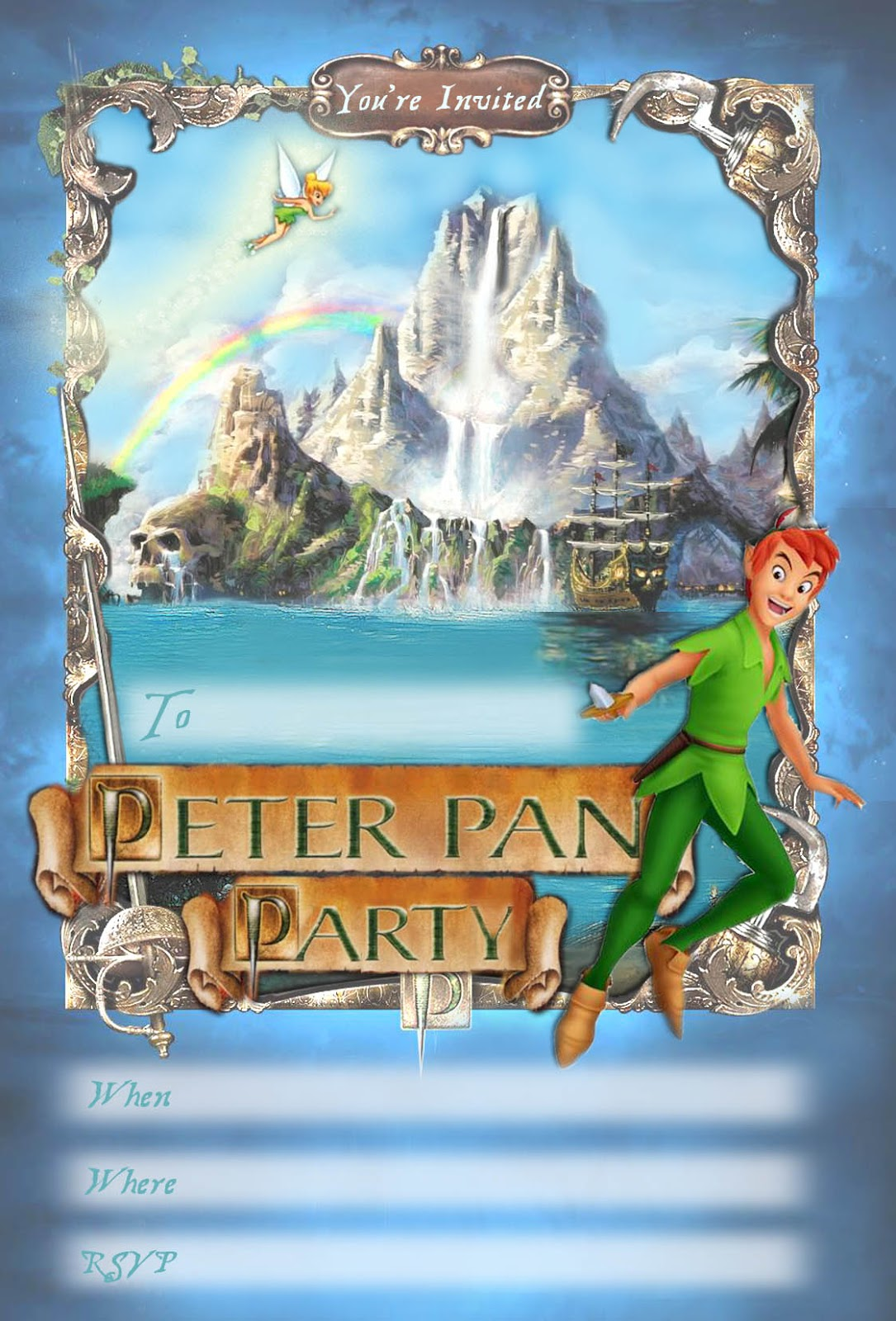 FREE Kids Party Invitations Peter Pan Printable Invitation – Free Kids Party Invitations to Print