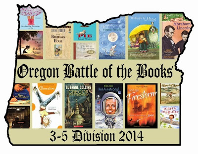 Graphic logo for Oregon Battle of the Books: Covers of books arranged inside Oregon state boundary outline