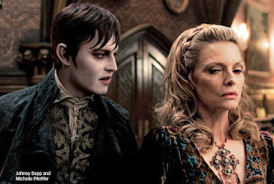 Johnny Depp as Barnabas Collins and Michelle Pfeiffer as Elizabeth Collins Stoddard in Dark Shadows