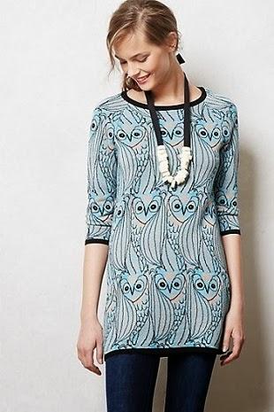 Anthropologie, anthropologie.com, Anthropology, Nestled Owl Tunic, shirt, sweater, top, blue, aqua, light, critter, bird