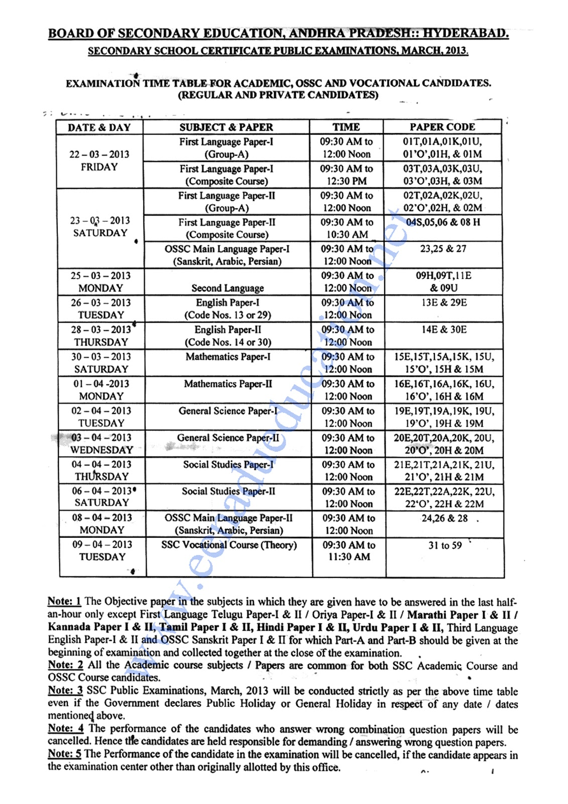 AP SSC (Tenth Class) Time table 2013