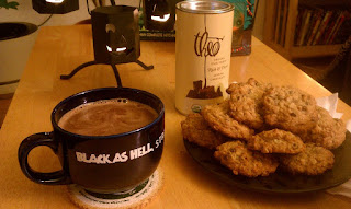Photo of cookies and sipping chocolate.