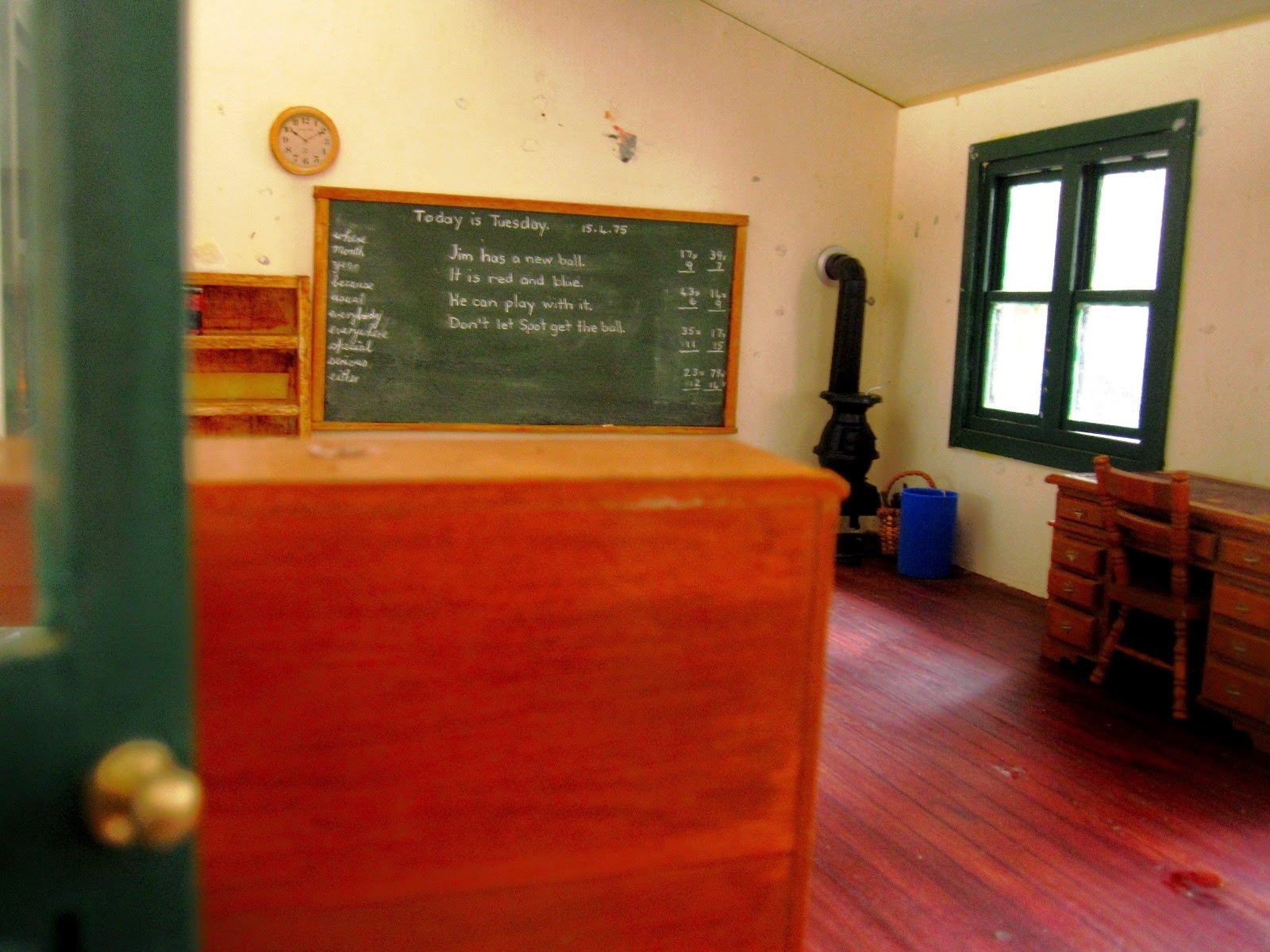 Inside view of an almost empty vintage miniature school.