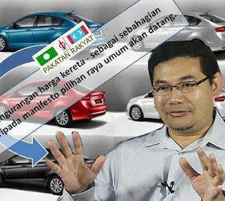 Rafizi Ramli turunkan harga kereta