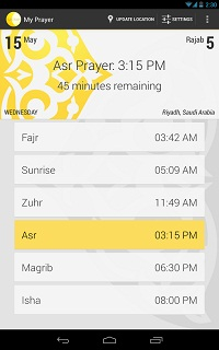 This app calculates Muslims prayer times using the phone's location (latitude and longitude)