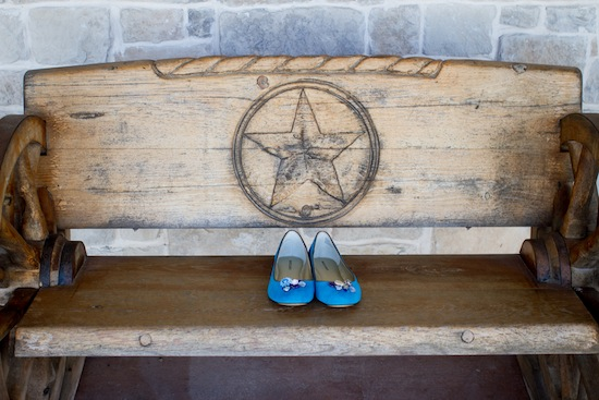 bridesmaids something blue shoes on a rustic wooden bench