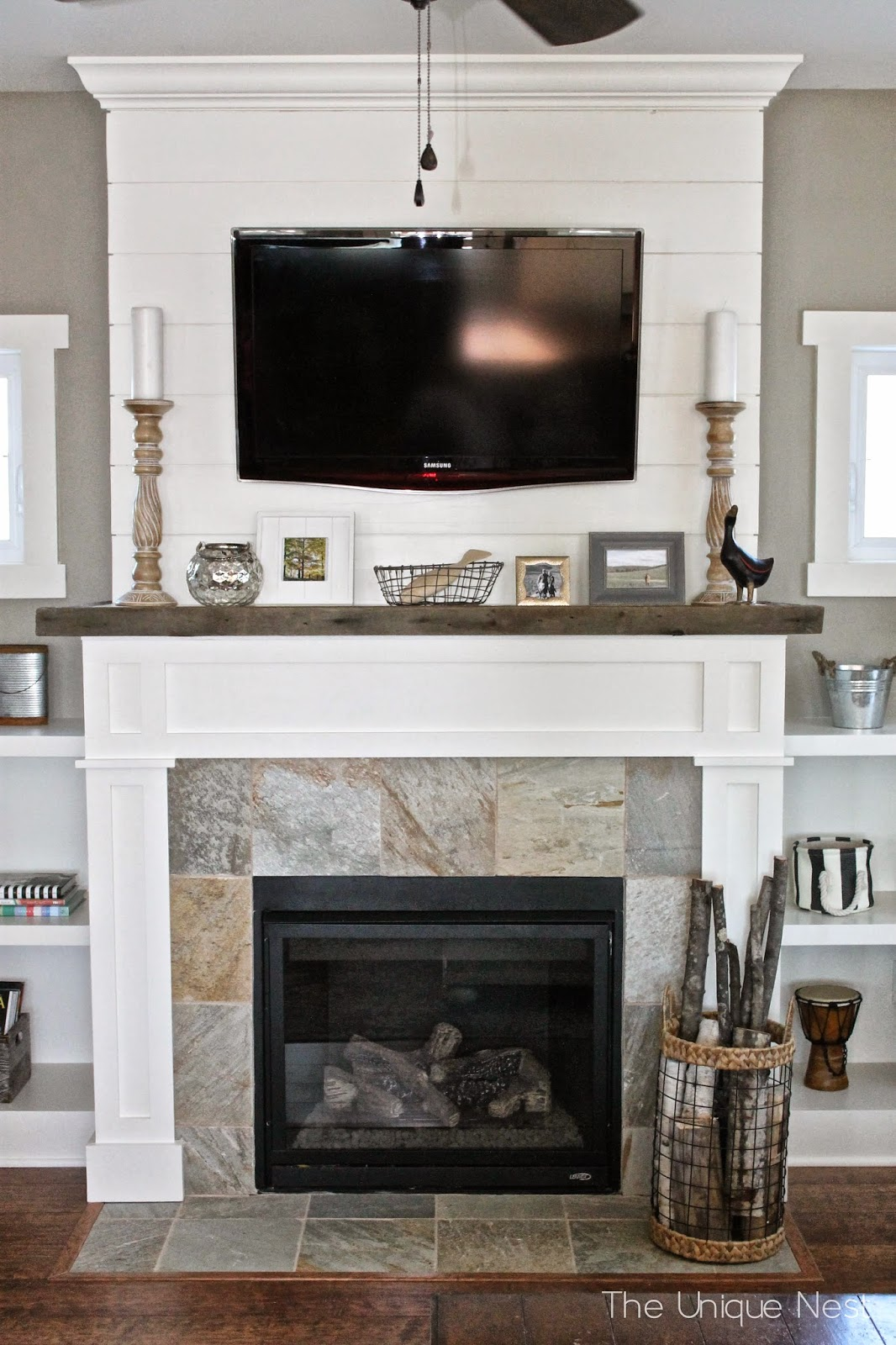 Shiplap fireplace with built ins the unique nest for Tv over fireplace