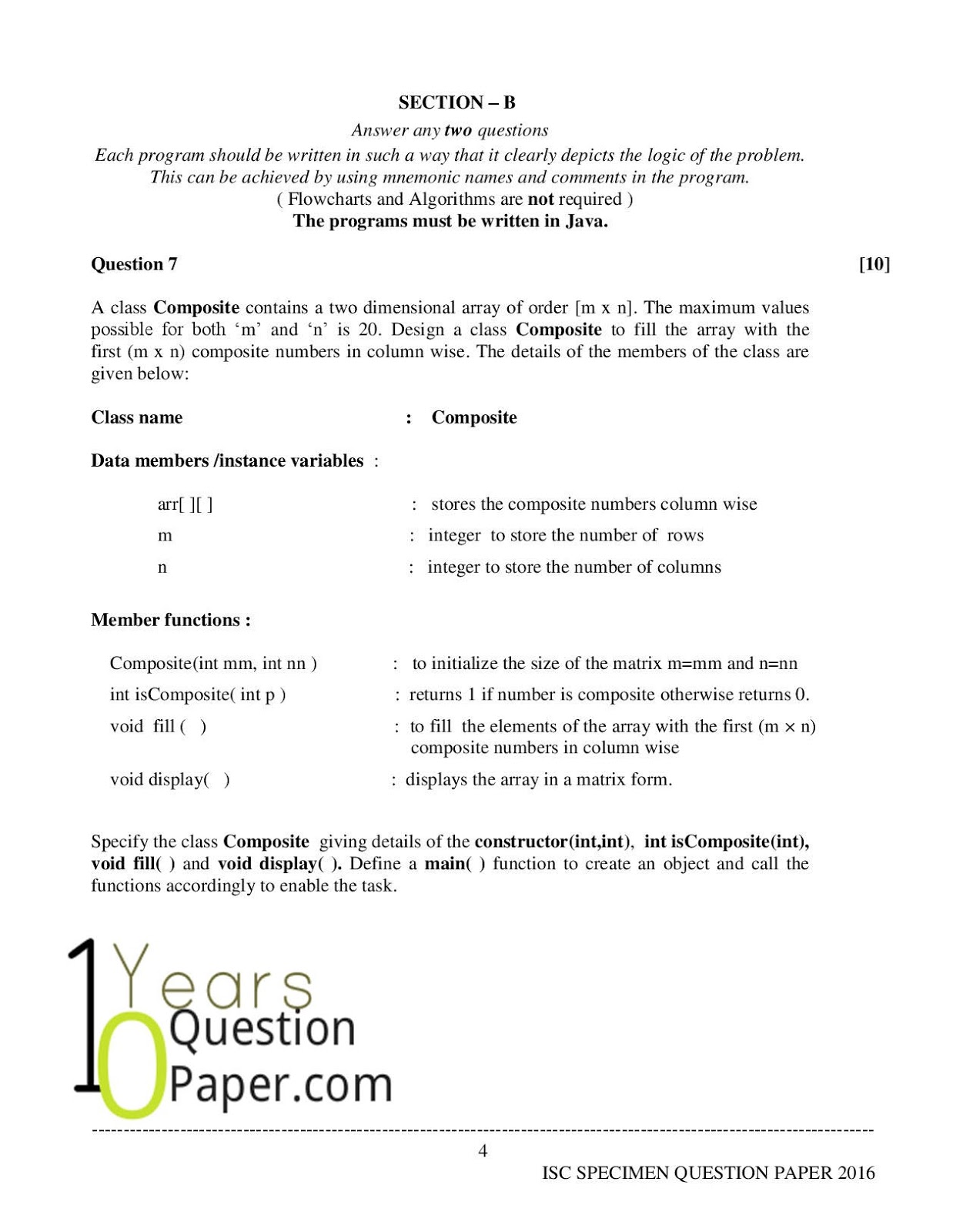 isc 2016 class 12th computer science Specimen question paper