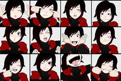 Ruby making a bunch of different faces, all modeled after Calvin from Calvin and Hobbes, to test her expressiveness.