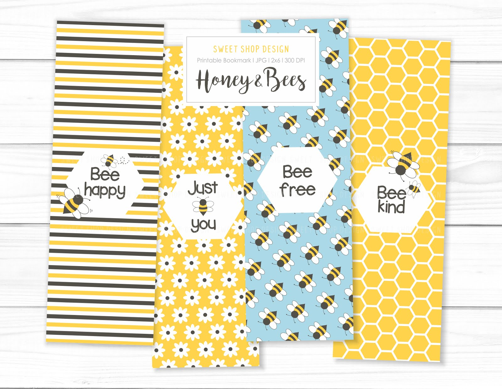 Printable Bookmark HONEY AND BEES