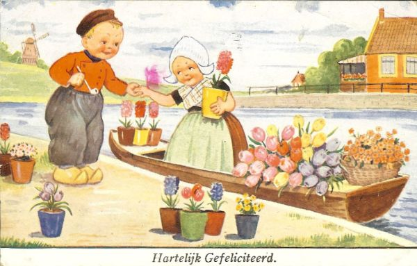 children's illustration of little Dutch boy helping a little girl off a barge full of tulips