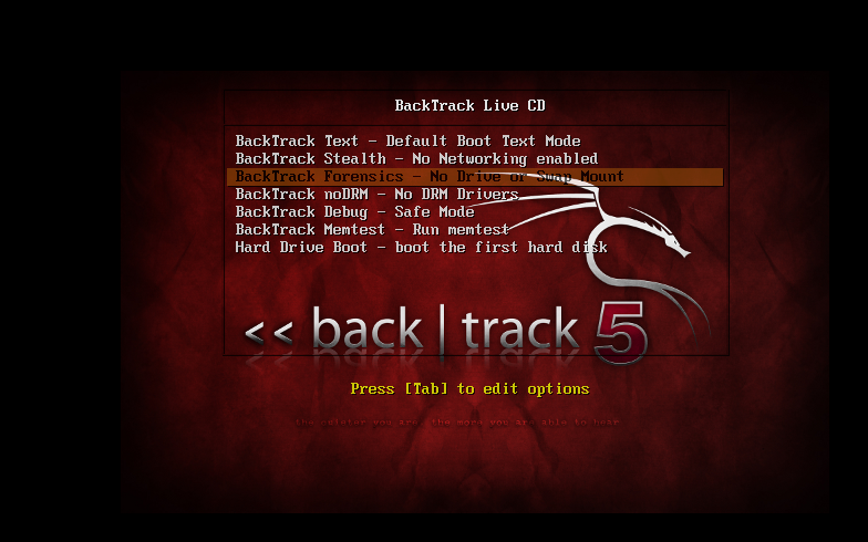 Backtrack live cd starts