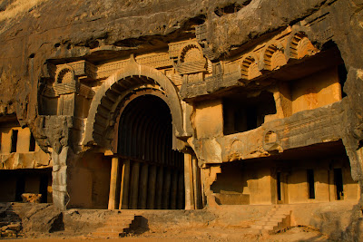 A photograph of the main hall at Bhaja Caves in Pune, India
